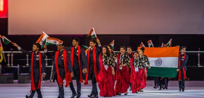 A confident and determined Skill India team at the Grand Opening Ceremony of WorldSkills 2017 in Abu Dhabi