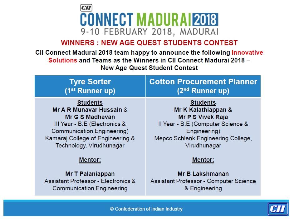 CII Connect Madurai 2018 Winners