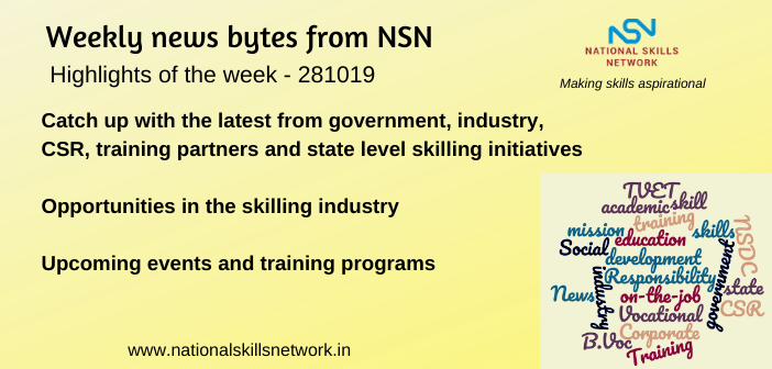 News Bytes on Skill Development and Vocational Training – 281019
