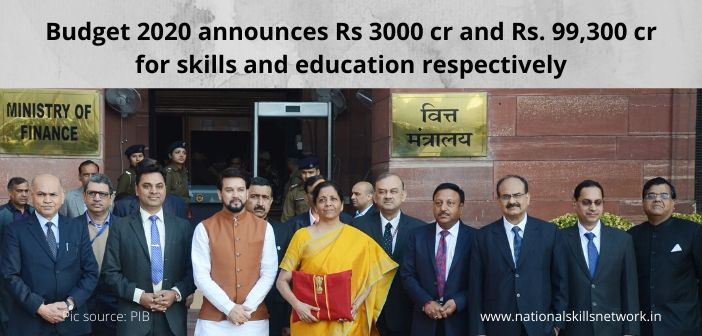 Budget 2020 announces Rs 3000 crores and Rs. 99,300 crores respectively for skills and education