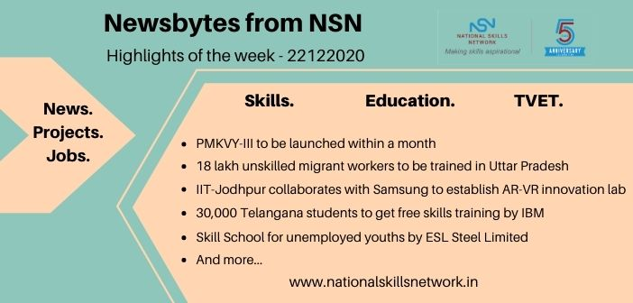Newsbytes on Skill Development and Vocational Training – 22122020