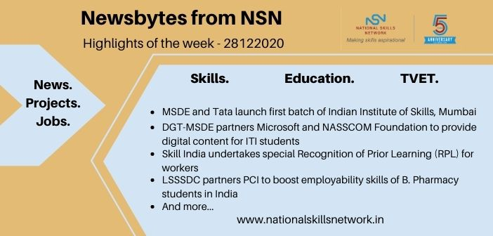 Newsbytes on Skill Development and Vocational Training – 28122020